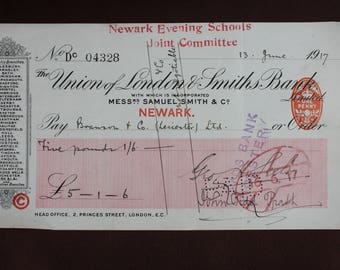 Vintage 1917 cheque The Union of London & Smiths Bank Limited Edwardian WW1