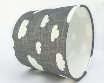 Grey and White Cloud Lampshade