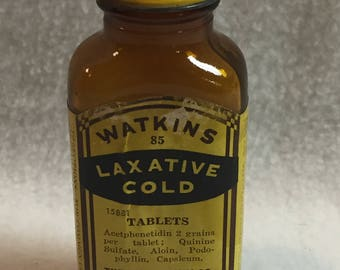 J.R. Watkins Laxative Cold Tablets Bottle (#041)