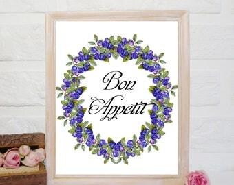 Bon Appétit Print, Kitchen print, Kitchen wall art, Kitchen decor, Kitchen printable art, Kitchen Poster, blueberry wreath, watercolor print