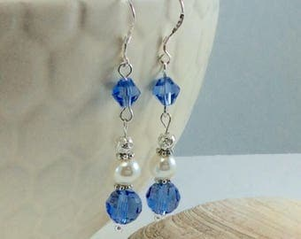 Blue Skies Swarovski Crystal Glass Pearl Czech Drop/Dangle Earrings with .925 Silver Wires
