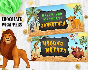 Lion the King Chocolate wrappers Jungle Hershey bar wrappers birthday wraps