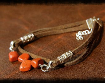 Red Jasper Bracelet, Natural Stone Bracelet, Healing Meditation Bracelet, Red Jasper Stone, Crystal Bracelet, Bohemian Bracelet, Gemstone.