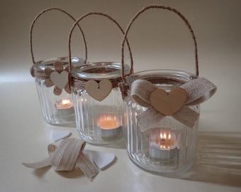Hand Hand Decorated glass Tea Light Holders - Wedding Table Decoration - Set of 3 Tea Light Holders - Rustic Tea Light Holders - Tea Lights