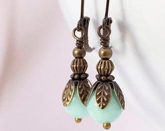 Edwardian Earrings, Vintage, Drop Earrings, Art Deco Style, Victorian Earrings, Amazonite Gemstone, Lever Back Ear Wires, Handmade, UK, Gift