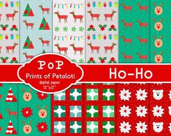 Ho-Ho Patterns, Digital Paper, Graphic prints, digital wallpapers, digital patterns, digital Illustrated prints
