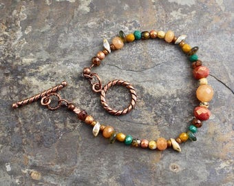 NEW Viking inspired bracelet, Czech glass beads,lentils,prongs,copper beads, copper toggle clasp,B175