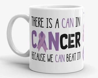 Hodgkin's Lymphoma Awareness Coffee Cup Can Beat It Novelty Ceramic Mug Hodgkins Cancer Violet Ribbon Custom Gift Survivor 11 & 15 ounce