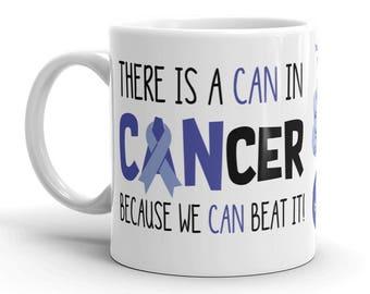 Colon Cancer Awareness Coffee Cup Can Beat It Novelty Ceramic Mug Dark Blue Ribbon Custom Gift Survivor Support 11 & 15 ounce