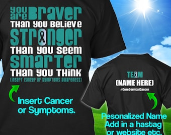 Personalized Cervical Cancer Awareness Tshirt Teal White Ribbon Braver Support Survivor Custom T-shirt Unisex Women Youth Kids Tee