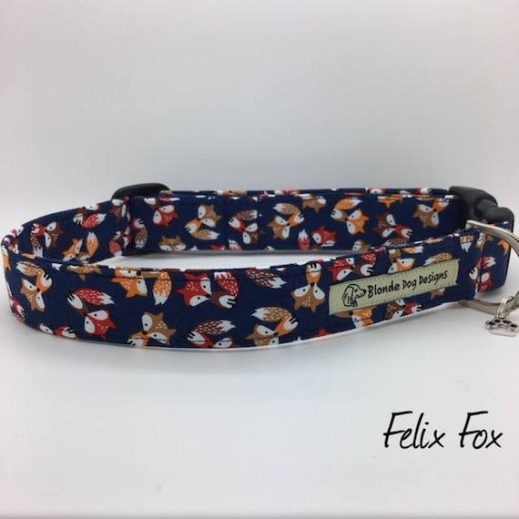Fun Dog Collar, Felix Fox, Cute Dog Collar, Blue Dog Collar, Dog Lead, Luxury Dog Collar, Luxury Dog Lead