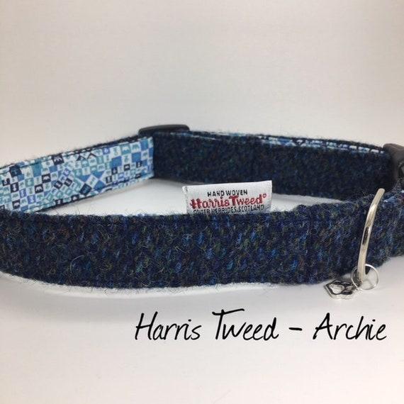 Harris Tweed Collar, Archie Dog Collar, Harris Tweed, Genuine Harris Tweed, Blue Dog Collar, Tweed Dog Collar, Luxury Dog Collar