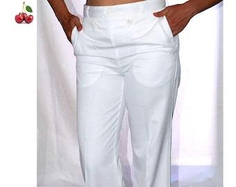 Pantalon à pont blanc vintage 90s Pantalon de la Marine Française unisexe taille haute Pantalon blanc marin nautique French nautical pants