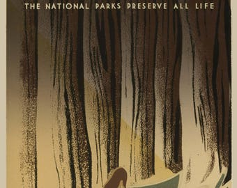 WPA Wildlife Poster, The National Park Service Preserve All Life, WPA Poster Download, Downloadable Poster, Preserve Wildlife