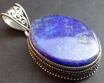 Handmade Vintage Style Pendant - Natural Blue Lapis .925 Silver Plated Brass-P03