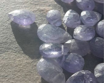 Natural blue/Lavender coloured Tanzanite Briolettes mixed sizes lot, 60ct approx 40 gemstones. 6-12 mm in size. Untreated natural gemstones.