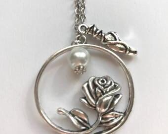 Ballet Shoes & Rose Necklace