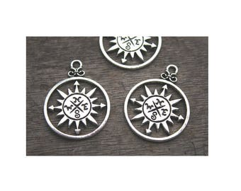 Set of 2 North West compass charm is silver plated individually (D39)