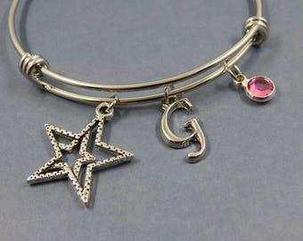 Star Bracelet Bangle, Bangle, initial birthstone / birthstone swarovski letter alphabet