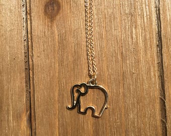 Lucky Elephant Gold Necklace // Charm Necklace // Gold Elephant Charm
