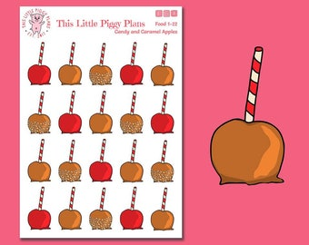 Candy Apples - Caramel Apples - Planner Stickers - Halloween Treats - Stickers - Candy Stickers - Sweets - Treats - [Food 1-22]