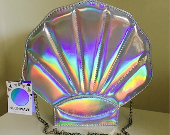 Holographic Rainbow Iridescent Spectrum Mermaid Shell Shoulder Clutch Chain Bag