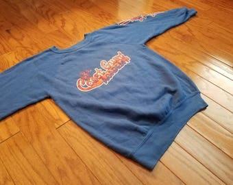 Vintage 80s blue Coast Guard Academy sweatshirt. MEDIUM