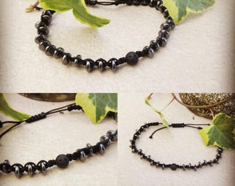 Lava stone and hematite macrame bracelet