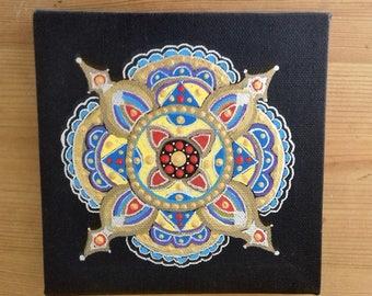 Dot art, Mandala Painting, Wall Art, canvas art, gold, multi color, ready to hang, boho, eastern art, gift, boho home, original painting