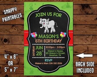 Elephant Birthday Invitation, Birthday Invite, Party Invite, Printable, Digital File - 49