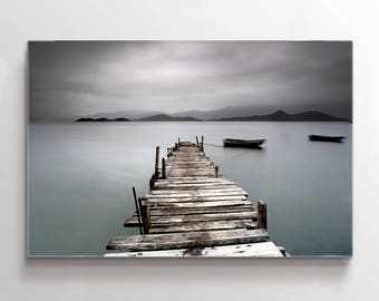 Large Wall Art Wooden Pier on Lake and Mountain Landscape Canvas Print
