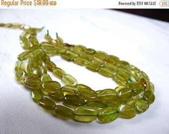 57% Celebration Sale-- Green grossular garnet smooth nuggets/9x6mm/15 inch strand