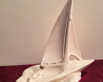 Alta Ceramica-50s 60s-trophy boat figure-Jihokera-Sail boat-Regatta