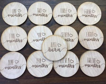 Heart Baby Monthly Milestone Plaques