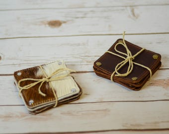 Leather Coaster Set  FREE US Shipping!