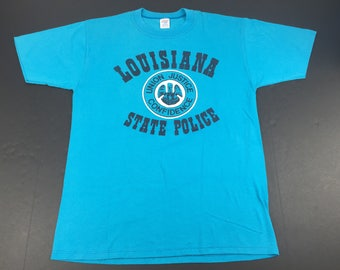 Vintage 80s Louisiana state police t-shirt mens L 50/50