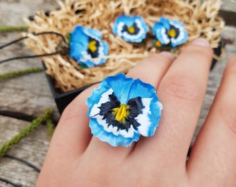 Pansy ring Real flower ring Floral ring Blue Pansy floral jewelry Nature style Every day Polymer clay ring For woman Polymer Clay flower