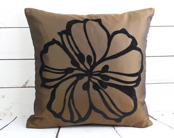 brown decorative cushion cover, big black flower cushion cover, 16 inch  floral pillow cover, sofa cushion cover, lined throw pillow cover