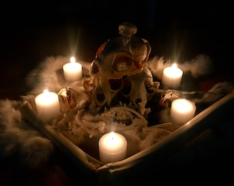 Photography Print: Candle Lit Skull Stack