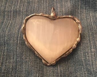 Selenite puffy heart pendant