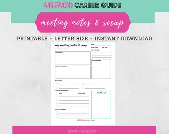 Meeting Notes & Recap Productivity Printable | Digital Note Pad | Action List | To Do List