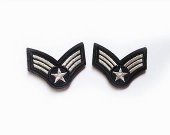 2x silver emblem braid military stripe aviation tag grade custom Iron On Embroidered Patches Applique black pilot aviator plane