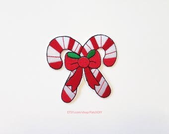 1x CHRISTMAS Sugar Cane patch knot candy red white peppermint holidays decorations present winter DIY project Iron On Embroidered Applique