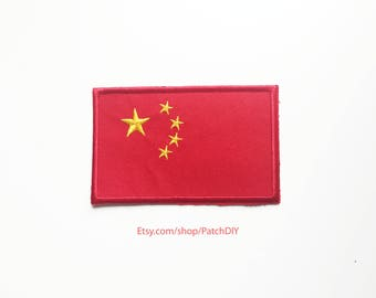 1x Chinese flag patch - CHINA - Asia Asian roadtrip World Iron On Embroidered Applique logo red yellow stars