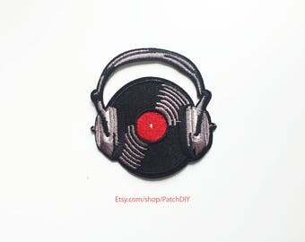 Patch DJ headphones vinyl disc jockey Iron on embroidered applique electronic music black grey red custom DIY costume vest Turntable craft