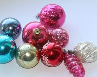 Set of 9 Soviet Vintage Christmas Tree ornaments Christmas balls Vintage Glass  ornaments USSR ornaments Glass Christmas decorations #11