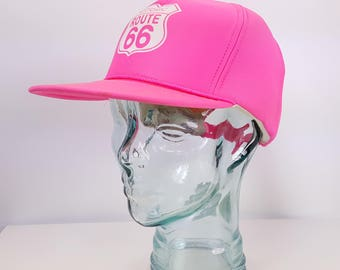 Snapback Bright Pink 80s 90s Route 66 Beach Volleyball Surf Skate