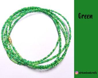 Go Green - Waist Beads - Belly Chain - Belly Beads - African Waist Beads
