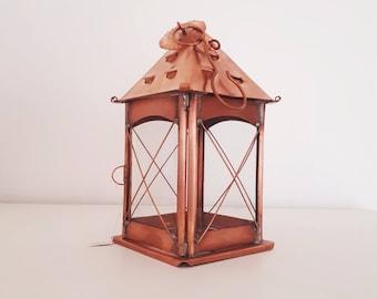 Rustic Copper Lantern. Indoor lantern. Home Decor. Candle holder. Rustic wedding. Thanksgiving. Vintage outdoor lantern.  494 medium square