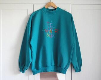 Sweatshirt Vintage Azure Blue Oldschool 1980s fashion Retro Women Clothing Long Top THE SWEATER SHOP Sportswear / Extra Large size